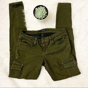 Flying Monkey Cargo Green Skinny Jeans Sz 7